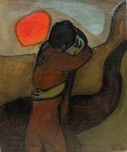 HANCE (XXe siècle)  Couple au soleil rouge...