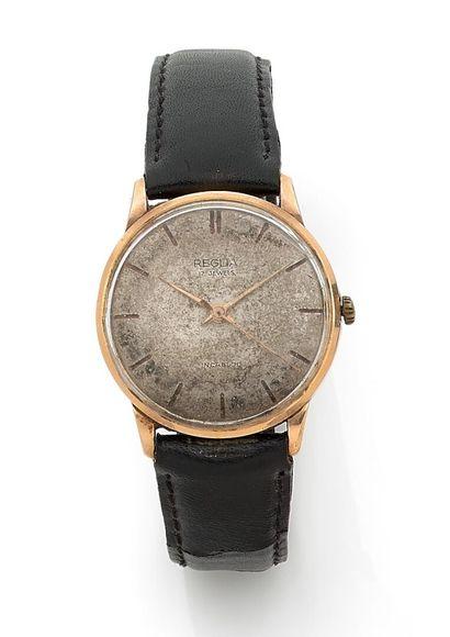 REGLIA - Men's wristwatch, yellow gold case....