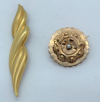 18K (750) yellow gold set consisting of two...