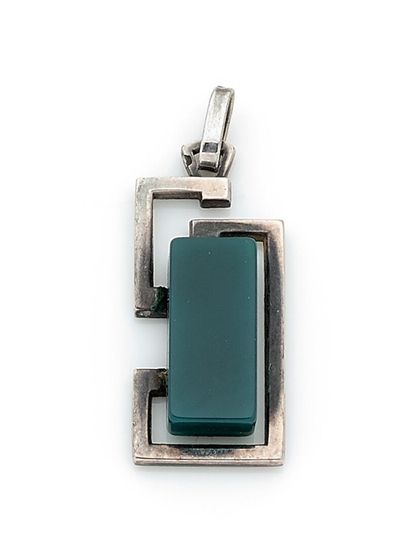 Modernist silver pendant decorated with a...