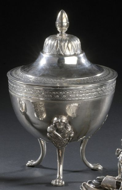 Round shaped silver covered bowl resting...