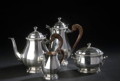 Silver tea and coffee set, baluster shape...