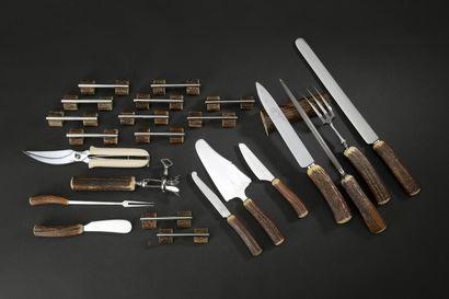 Metal game carving set, antler handles consisting...
