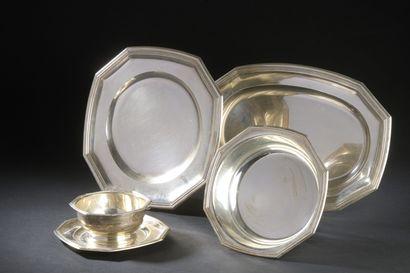 Double-moulded octagonal silver plasterwork...