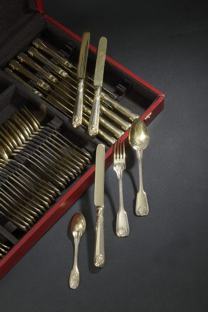 Cutlery service part in vermeil, model nets,...