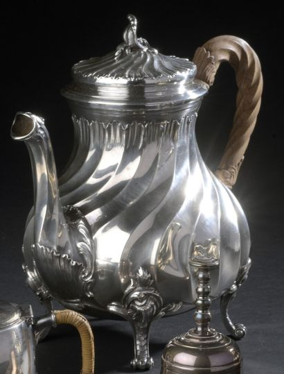 Silver teapot in the shape of a baluster...