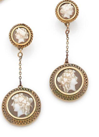 SAINT Pierre (1861-1875) - Pair of earrings...
