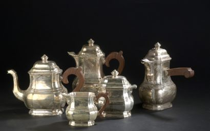 Silver tea and coffee set, rosewood handles,...