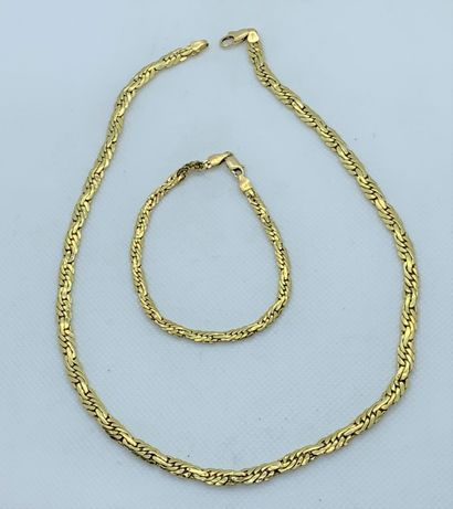 Necklace and bracelet in 18K (750) yellow...
