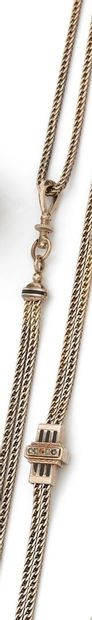 Long yellow gold watch chain with its necklace...
