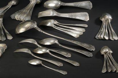 Silver cutlery service part (950) model tri-lobed...