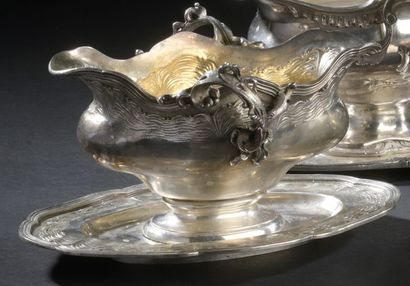 Gravy boat with adherent silver 900°/°° silver...