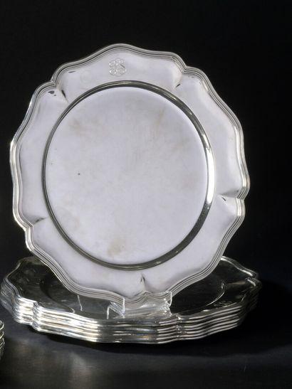 8 silver presentation plates (900), contoured...