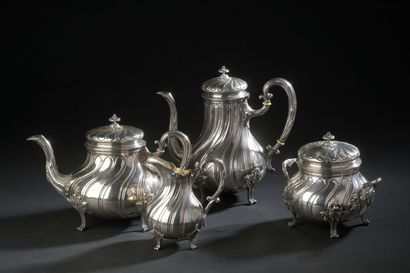 Four-piece silver tea and coffee set, decorated...
