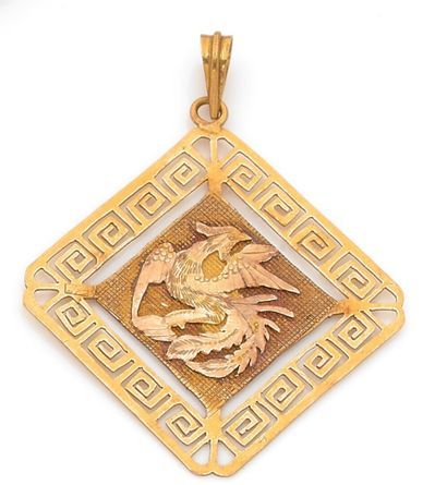 Yellow gold square pendant with a dragon...