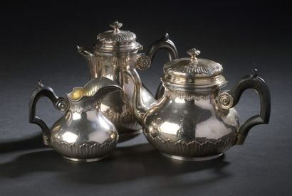 Silver tea and coffee set with drapery decoration,...