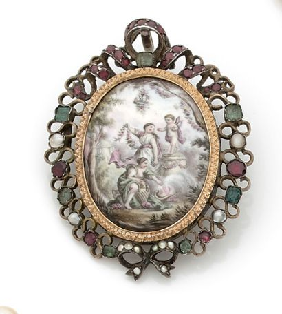 Oval miniature pendant representing young...