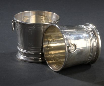 Two small moulded silver buckets decorated...