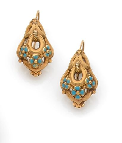 Set of two pairs of antique ear pendants,...