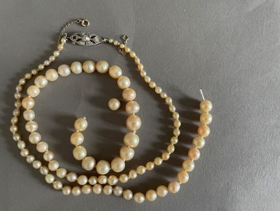 Necklace of presumed mixed fine pearls and...