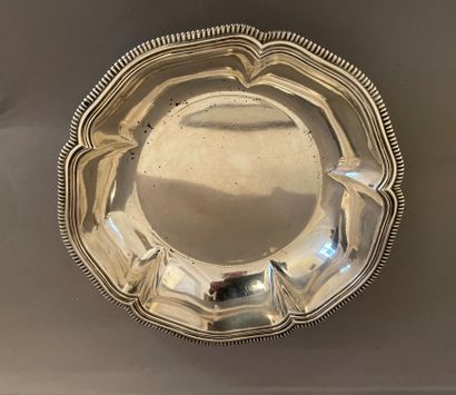 Small silver bowl of round shape with contours...