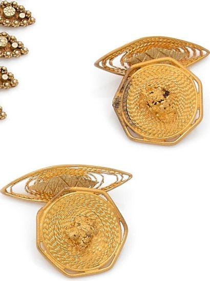 Pair of yellow gold filigree cufflinks.  Weight:...