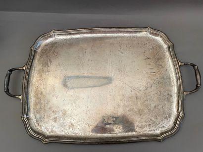 Large rectangular silver serving platter...
