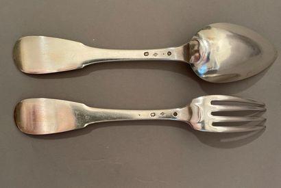 Twelve large silver cutlery uniplatte model,...