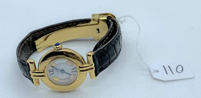 CARTIER - Ladies' quartz gilt bracelet watch,...