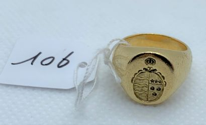 18K (750) gold signet ring, engraved with...