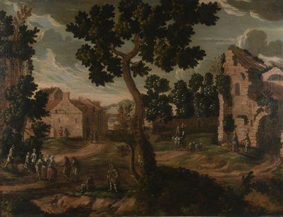 Ecole ITALIENNE du XVIIIème siècle  Scène de village  Toile  96 x 124 cm  Sans cadre...