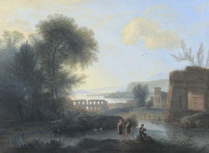 École HOLLANDAISE du XIXe siècle  Bergers...