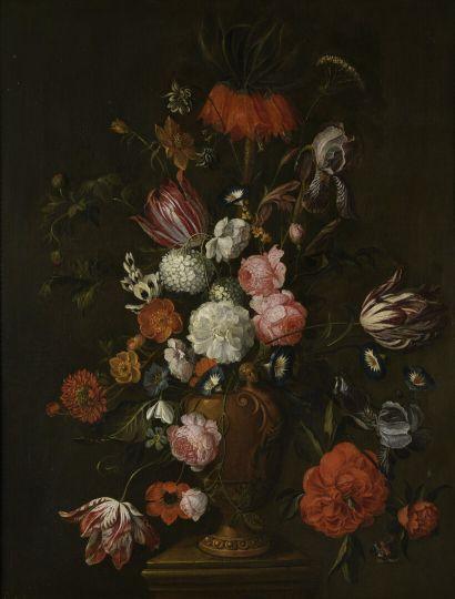 David Cornelisz de HEEM (Anvers 1663 - La Haye 1701)  Bouquet de fleurs sur un piédestal...