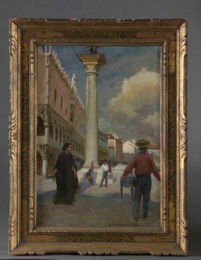 Gaston CHARPENTIER - BOSIO  (Paris 1858 - 1923)  La place Saint Marc à Venise  Sur...