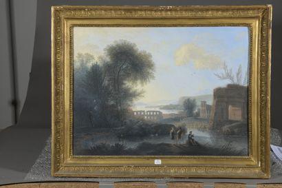 École HOLLANDAISE du XIXe siècle  Bergers près d'une rivière et de ruines antiques...