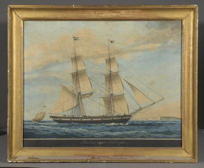 Louis MONTARDIER (1793-1860)  Portrait de la corvette « La Pauline »  Encre et aquarelle,...