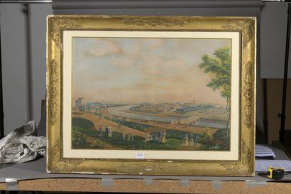 École FRANÇAISE vers 1820  Paris, la rive gauche de la Seine vue depuis la  colline...
