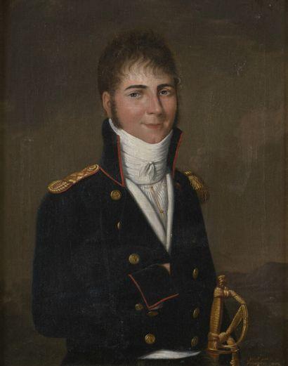 Johan Friedrich DRYANDER  (Saint Jean 1756 - 1812)  Portrait d'un militaire  Sur...