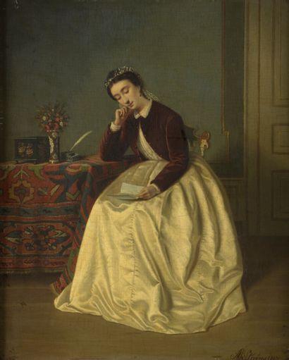Agapit STEVENS (Bruxelles 1848 - Watermael-Boitsfort 1924) Portrait de femme lisant...