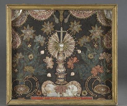 Tableau votif en mosaïque de coquillages...