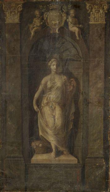 École FRANÇAISE  du début du XVIIIe   siècle  La Flore Farnèse  Toile, deux toiles...