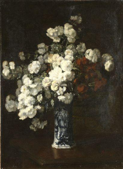 Alexandre RIPAULT (1839-1911)  Bouquet d'oeillets  Huile sur toile signée et datée...
