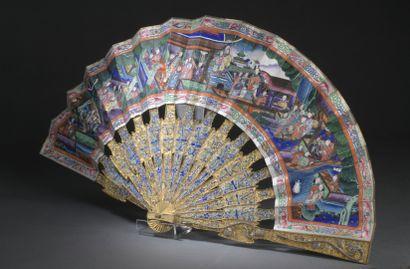 CHINE, Canton - Fin du XIXe siècle  Éventail,...