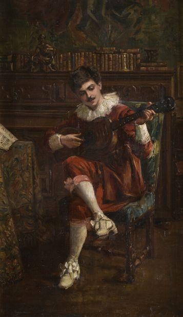 Clotilde CHRÉTIEN-COLOMBE (1878-1968) Troubadour à la guitare Huile sur toile signée...