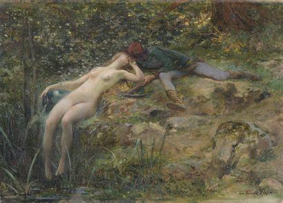 Luc-Olivier MERSON (1846-1920)  Un amour au Moyen-Age  Huile sur toile. Toile d'origine...