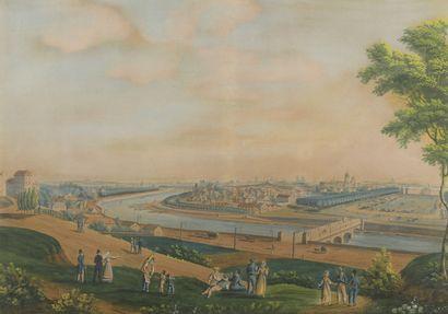 École FRANÇAISE vers 1820  Paris, la rive...