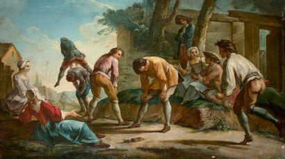 Ecole FRANCAISE vers 1760, entourage d'Etienne JEAURAT Jeu de quille Jeu de saute-mouton...