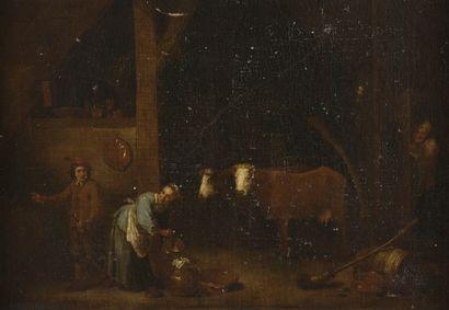 École FLAMANDE vers 1670, entourage d'Abraham TENIERS  Paysans dans un intérieur...