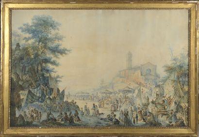 Attribué à Jean Claude RUMEAU  (actif fin du XVIIIe et début du XIXe siècle)  Procession...