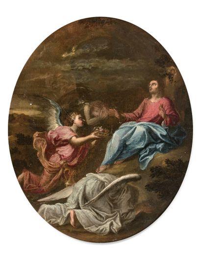 Ecole FRANCAISE vers 1730  Le Christ au Jardin des Oliviers  Toile ovale  55 x 46...